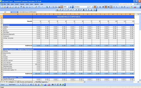 rphousehold expenses jpg excel budget spreadsheet