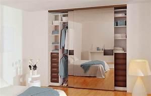 porte coulissante placard miroir le bois chez vous With miroir a coller sur porte coulissante