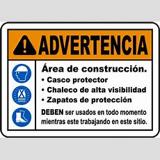 Spanish Warning Construction Area Ppe Sign G2519sp  By Safetysigncom