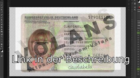 deutscher personalausweis vorlage photoshop psd youtube