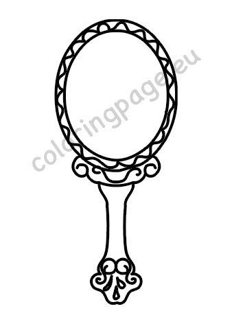 vintage hand mirror drawing coloring page