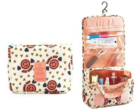 portable waterproof cosmetic makeup toiletry travel hanging organizer storage bag pouch smiley
