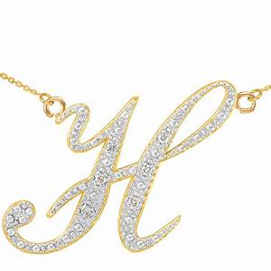 14k gold letter script quothquot diamond initial pendant necklace With diamond letter h pendant