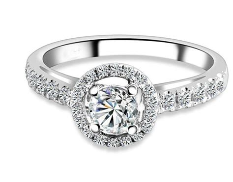 Sparkling Halo Cheap Engagement Ring 1.00 Carat Round Cut