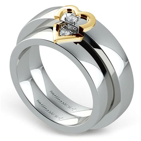 matching split heart diamond wedding ring in white and yellow gold