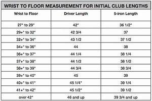 Golf Club Length To Height Chart Golf Putter Length Chart Le Matériel De Golf