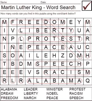 dr martin luther king jr day word search puzzle answers