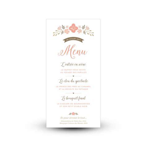 menu personnalise pour mariage champetre  fleuri