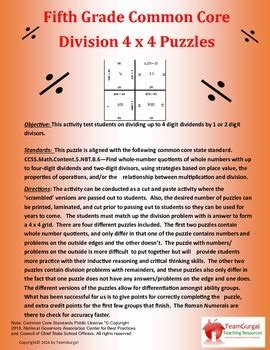 grade common core division puzzles