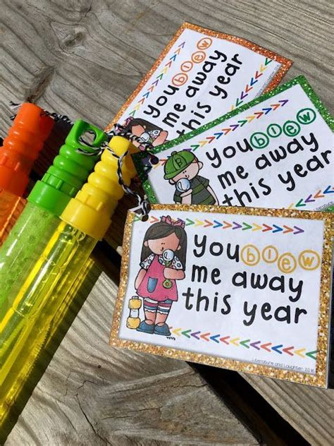 fun gifts for students during student teaching freebie end of the year student gift tags you blew me away this year for bubbles