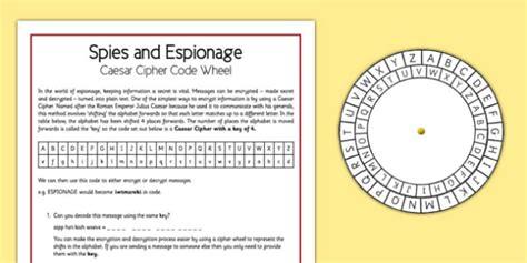 spies  espionage caesar cipher code wheel spies