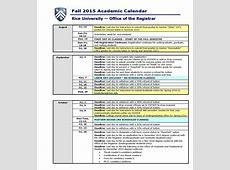rice university academic calendar 201819 Seven Photo