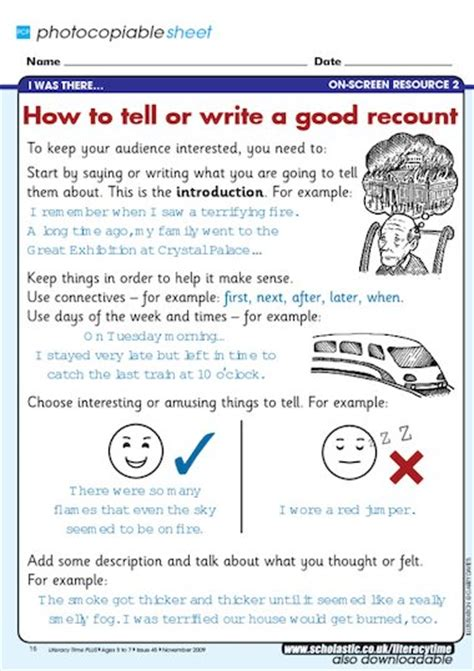 how to tell or write a good recount free primary ks1