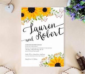 sunflower wedding invitation lemonwedding With wedding invitation templates with sunflowers