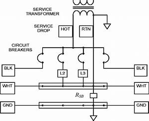 Diagram Of A Typical Service Panel With Four Circuit Breakers  Two