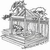 Gazebo Tub Plans Diy Backyard Gazebos Spa Drawings Pergola Build Drawing Building Cedar Sketch Plan Projects Wooden Pavilion Western Decks sketch template