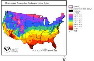 Map of Mean Annual Temperature Contiguous United States. Source: NCDC