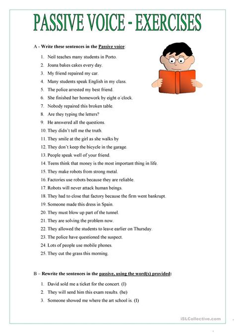 passive voice worksheet  esl printable worksheets