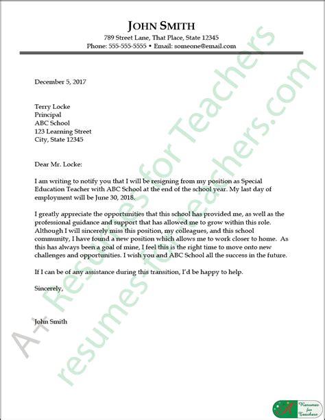 education resignation letter sample  resumes  teachers