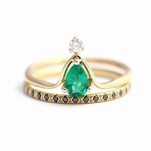 pear emerald wedding set alternative wedding ring set black With alternative wedding ring sets