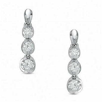 Earrings Diamond Drop Stone Three Gold Canadian
