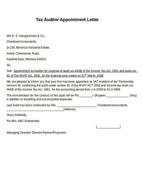 auditor appointment letter templates   word