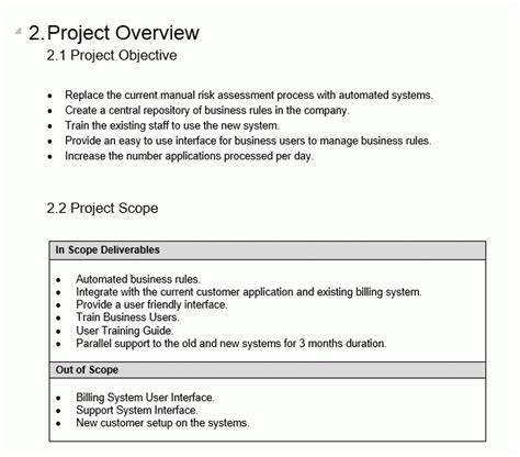 project overview template  templates project