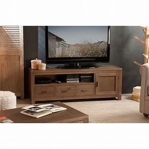 Meuble TV Bois Acajou Cannelle 140 Cm LOUNA Pier Import