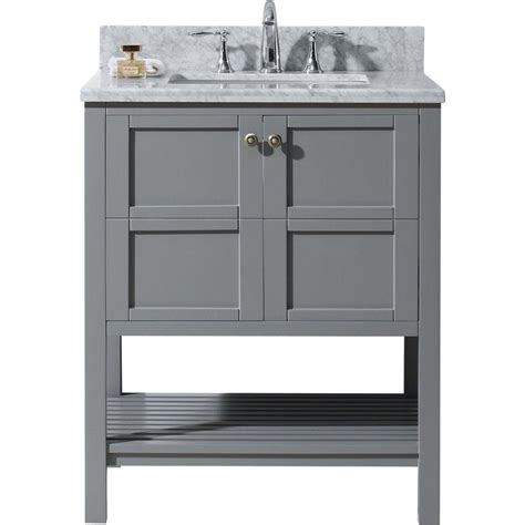 White Vanity With Gray Top by Virtu Usa Winterfell 30 In W Bath Vanity In Gray With
