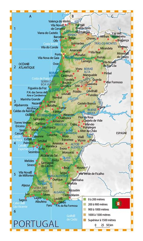 detailed elevation map  portugal  cities portugal