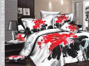Red White And Black Bedding Urban Bedroom With Queen
