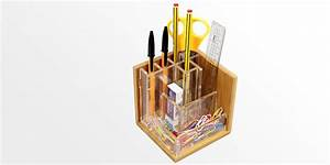 Pen Holder, Stationary Stand Bamboo Pensil Pot Office