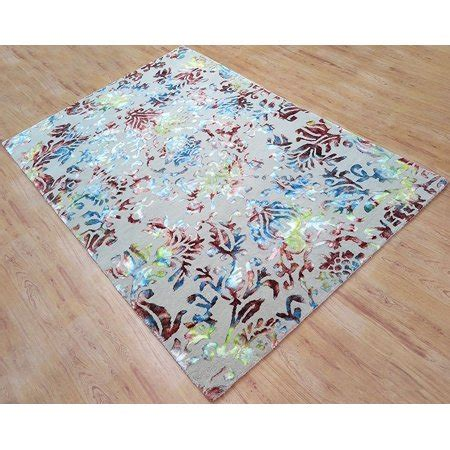 6x9 Wool Rug by Wool Viscose Area Rug 6x9 Ft Tufted Beige Base With