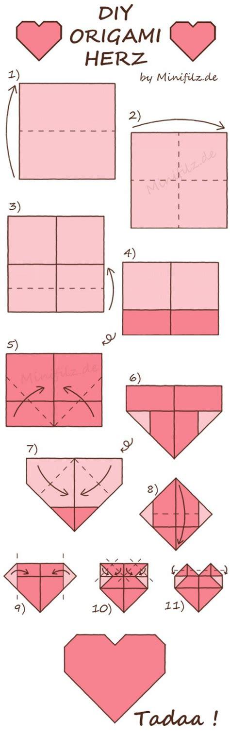 Servietten Falten Herz by Origami Herz Zum Falten F 252 R Den Valentinstag Noch Mehr