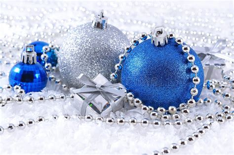 silver  blue christmas decorations stock image image