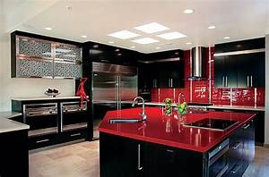 Red kitchen designs adorable home inspiring red kitchen for Decoration pour jardin exterieur 5 cuisine quartz noir