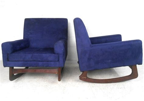 unique pair mid century modern suede rocking chairs for