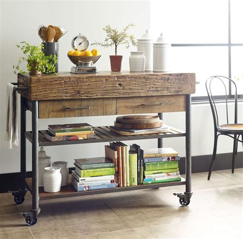 industrial reclaimed wood kitchen island cart  wheels