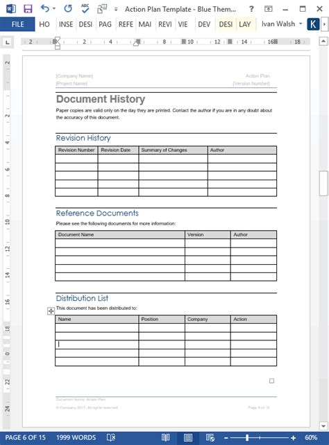 action plan template ms word  excels