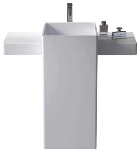 free standing bathroom sink shop houzz adm adm free standing solid surface stone