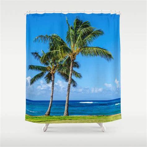 palms   sandy beach shower curtain  inches