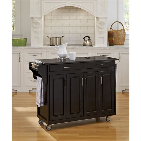 home styles create a cart black kitchen cart with black