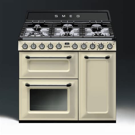 smeg aesthetic dual fuel 90cm range cooker tr93p with chrome trim
