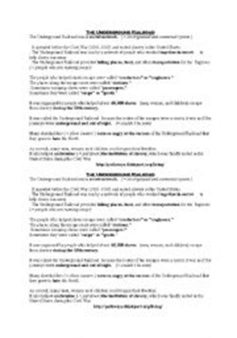 collection of underground railroad worksheets bluegreenish