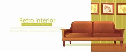 Cartoon Table Coffee Banner Sofa Vector Retro