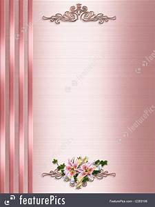Invitation Words Wedding Invitation Border Pink Satin Illustration