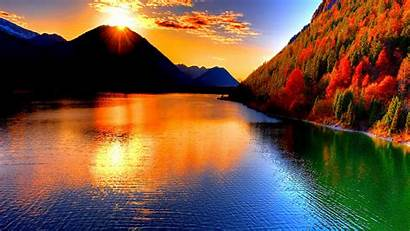 Sunset Mountain Lake Nature Desktop Wallpapers Backgrounds