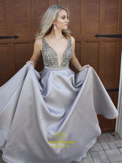 grey deep  neck backless floor length sequin embellished