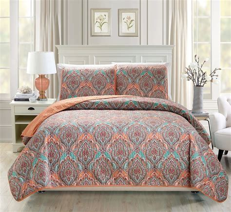 orange quilt set floral medallion print orange green reversible bedspread