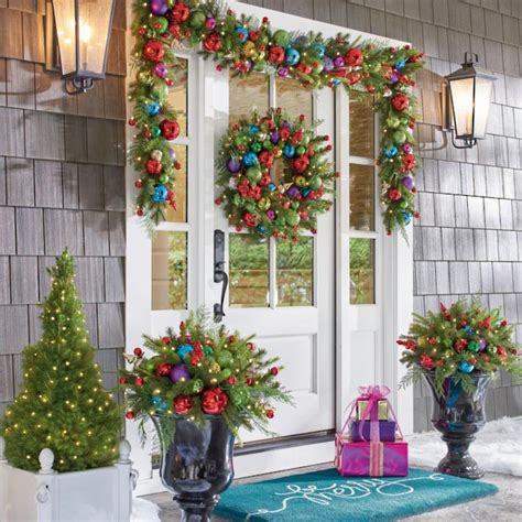 cordless outdoor decorations merry and bright cordless greenery collection grandin road